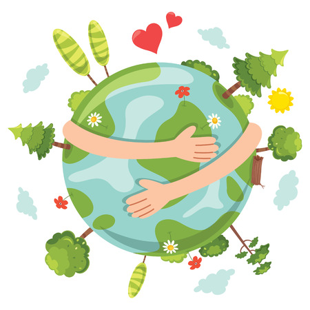 Vector Illustration Of Earth Day with arms hugging earth and trees and hearts.