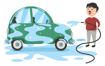 Vector Illustration Of Man Washing Car Vettoriali