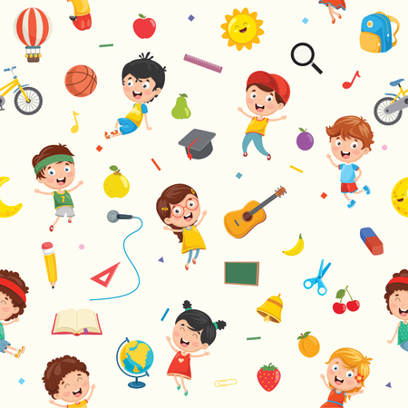 Seamless Pattern Of Kids And Objects Stock Illustratie