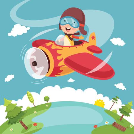 Vector Illustration Of Kid Operating Plane.