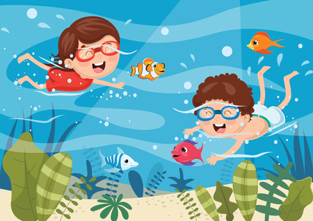 Vector Illustration Of Kids Swimming Underwater