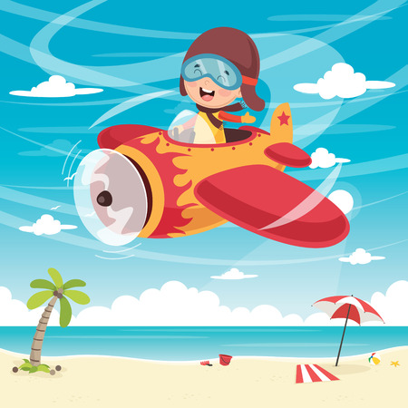 A Vector Illustration Of Kid Flying Plane Ilustrace