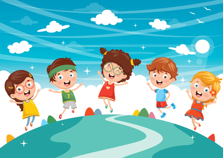 Vector Illustration Of Happy Kids Playing.