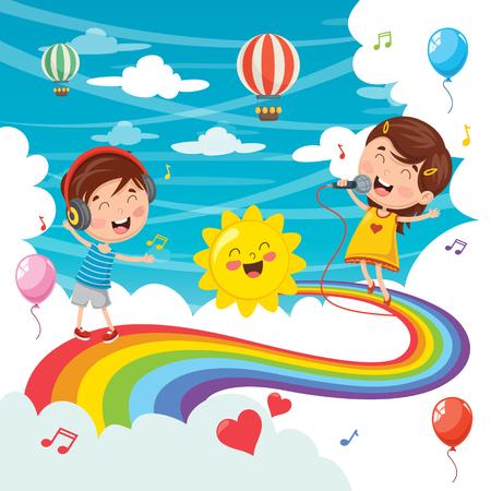 Vector Illustration Of Kids Jumping On Rainbow.