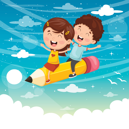 Vector Illustration Of Kids Flying With Pencil.