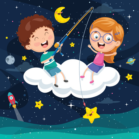 Vector Illustration Of happy Kids Sitting On Cloud.