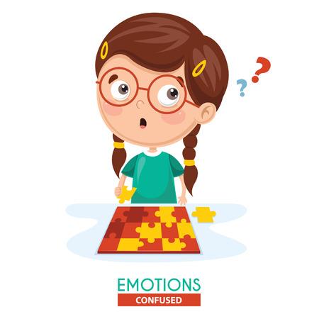 Vector Illustration Of Confused Kid Emotion 일러스트