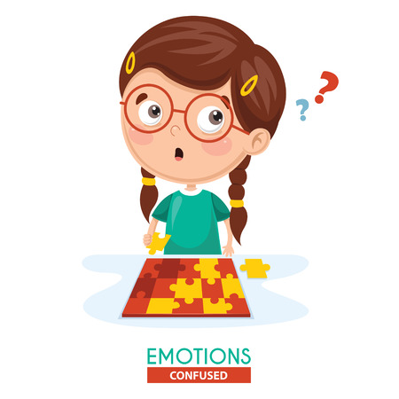 Vector Illustration Of Confused Kid Emotion Vettoriali