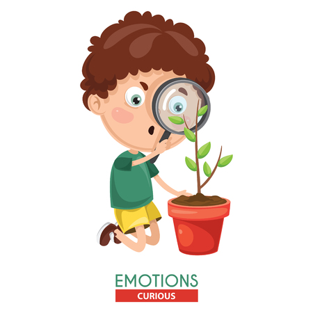 Vector Illustration Of Curious Kid Emotion
