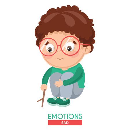 Vector Illustration Of Sad Kid Emotion Иллюстрация