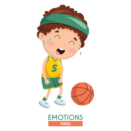 Vector Illustration Of Tired Kid Emotion