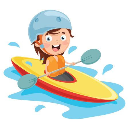 Vector Illustration Of Kid Canoeing