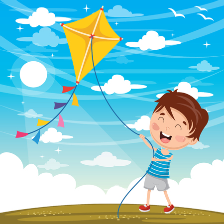 Vector Illustration Of Kid Playing Kite Иллюстрация