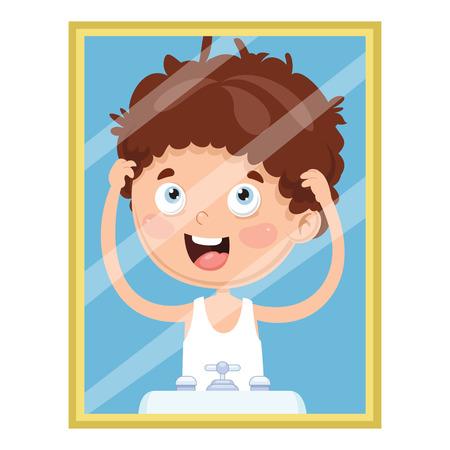 Vector Illustration Of Kid Looking At The Mirror Иллюстрация