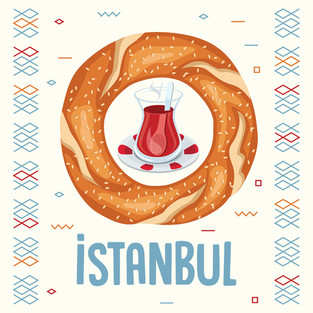Vector Illustration Of Turkish Bagel And Tea