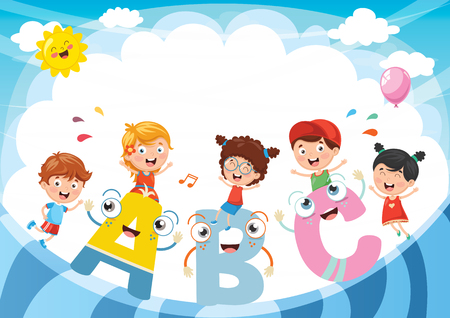 Vector Illustration Of Kids And Alphabet Characters Illusztráció
