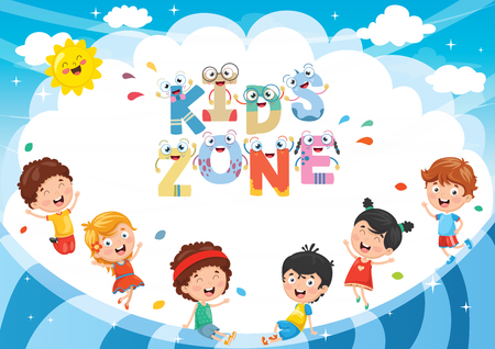 Vector Illustration Of Kids Zone Background Design