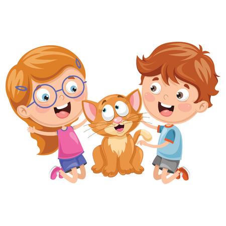 Vector Illustration Of Cartoon Kids With Cat Illustration