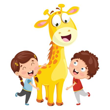 Vector Illustration Of Cartoon Kids With Giraffe