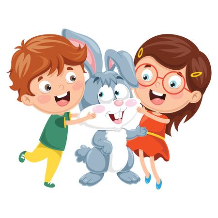 Vector Illustration Of Cartoon Kids With Rabbit