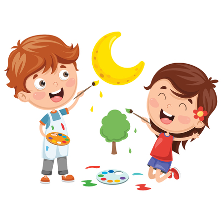 Vector Illustrations Of Kids Painting