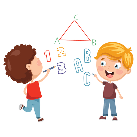 Vector Illustrations Of Kids Writing Çizim