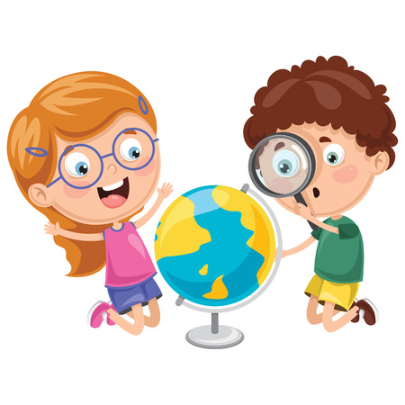 Vector Illustrations Of Kids Having Geography Lesson