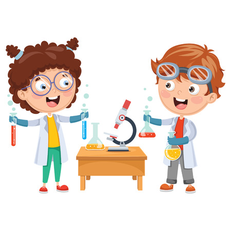 Vector Illustrations Of Kids Having Chemistry Lesson