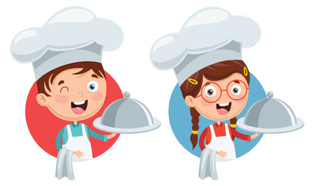 Vector Illustration Of Chef Kids Cooking Иллюстрация