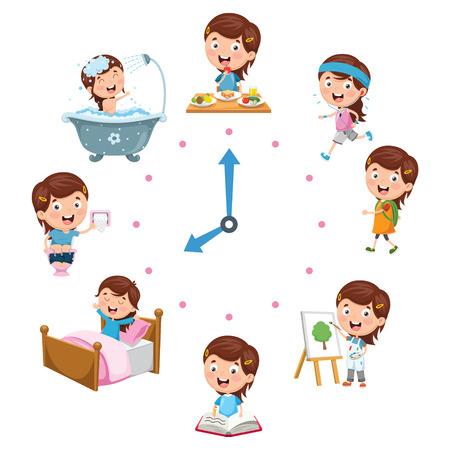 Vectorillustratie van dagelijkse activiteiten voor kinderen Vector Illustratie