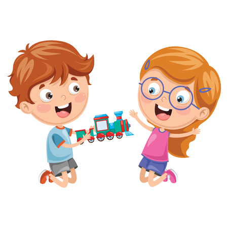 Vector Illustration Of Kids Playing With Toy Vettoriali