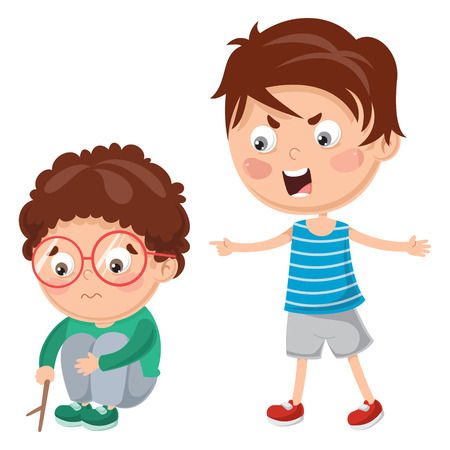 Vector Illustration Of Kid Shouting His Friend