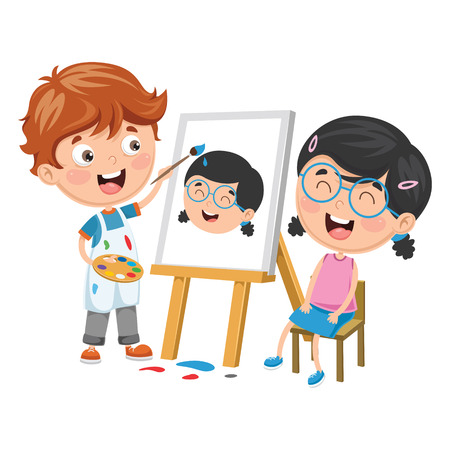Vector Illustration Of Kid Painting His Friend On Canvas