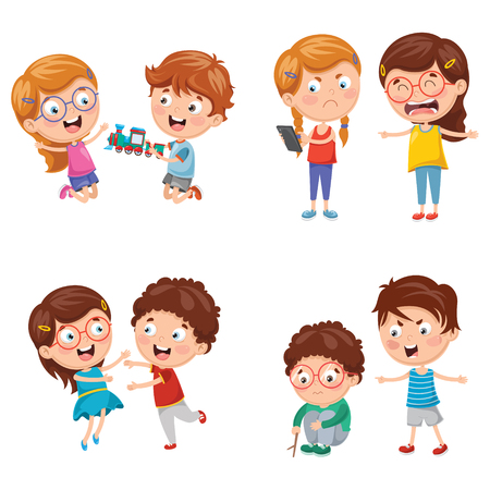 Vector Illustration Of Kids Behaviours Illustration