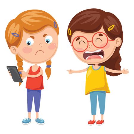 Illustrazione vettoriale di bambini che combattono per smartphone