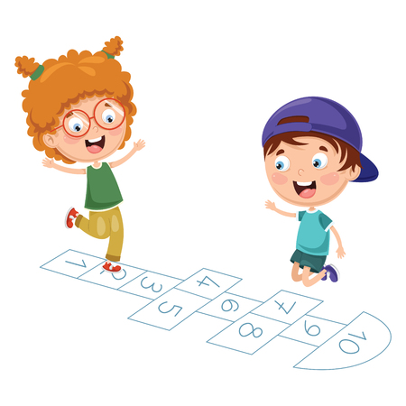 Vector Illustration Of Kids Playing Hopscotch