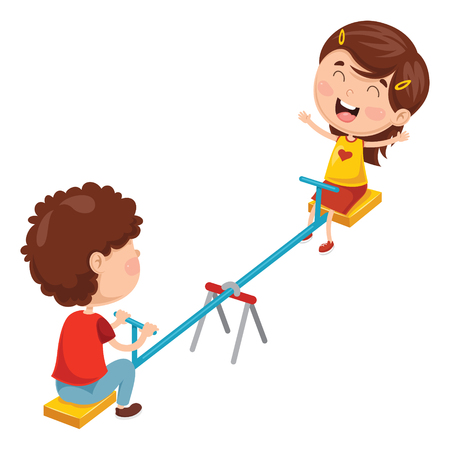 Vector Illustration Of Kids Playing On Seesaw