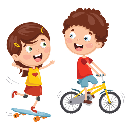 Vector Illustration Of Kids Skateboarding And Cycling 矢量图像