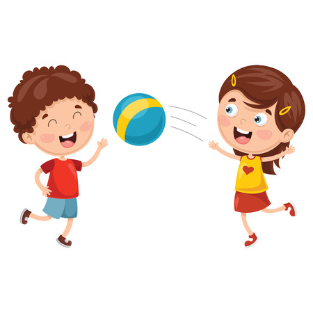 Vector Illustration Of Kids Playing With Ball  イラスト・ベクター素材