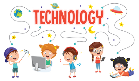 Vector Illustration Of Children and Technology with little kids on smartphone and computer.