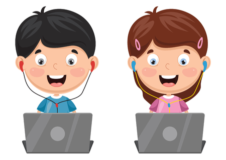 Vector Illustration Of Kids using a laptop