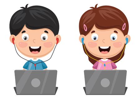 Ilustración vectorial de niños usando una computadora portátil Foto de archivo - 99825670
