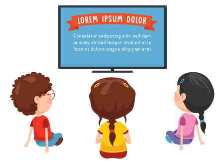 テレビを見ている子供たちのベクトルイラスト
