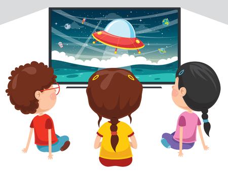 Vector Illustration Of Kids Watching Tv