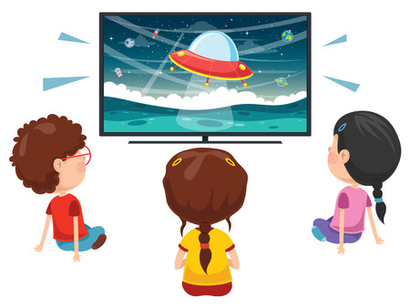 Vector Illustration Of Kids Watching Tv Archivio Fotografico - 100141101