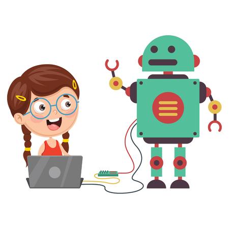 Vektor-Illustration eines Mädchens, das einen Roboter programmiert
