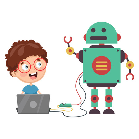 Vector Illustration Of a boy with a robot
