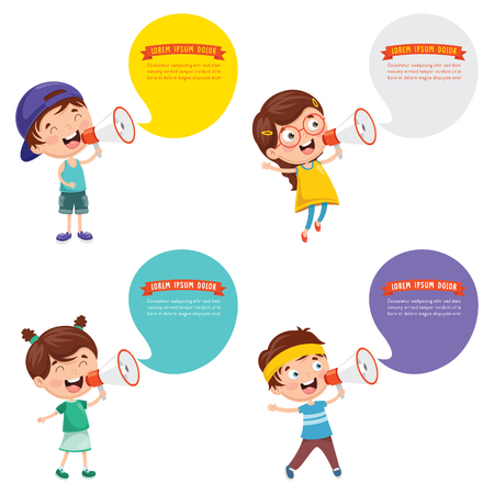 Vector Illustration Of kids with Megaphones and speech bubbles set
