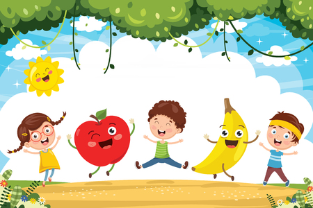 Illustration of Kids and Fruit Characters