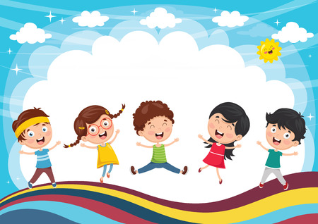A Vector Illustration Of Kids Playing isolated on colorful background.